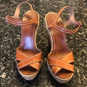 Christian Louboutin brown leather wedges size 37